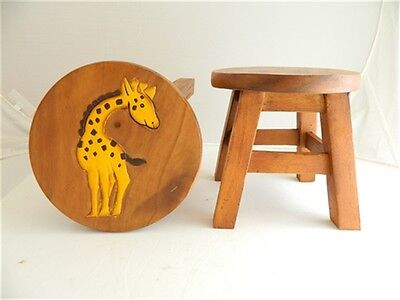 Childs Childrens Wooden Stool - Giraffe Step Stool