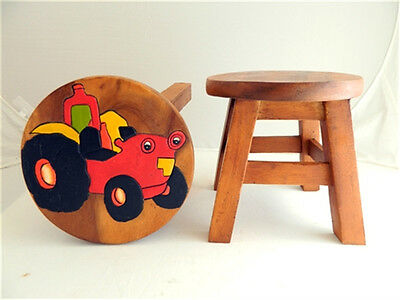 Childs Childrens Wooden Stool - Red Tractor Step Stool