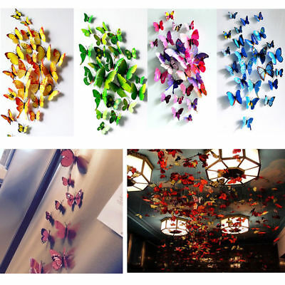 12 pcs Colour 3d Butterfly wall stickers Art Decal Home Room Decorations Decor