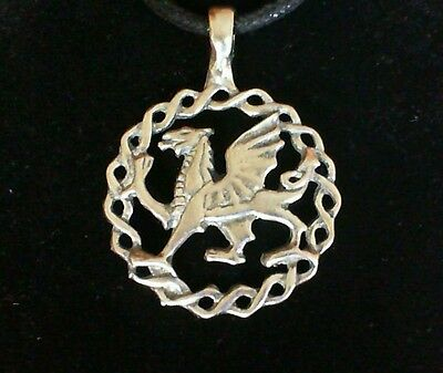 Welsh Dragon Pewter Pendant Necklace! New Made in USA Celtic Wales Irish