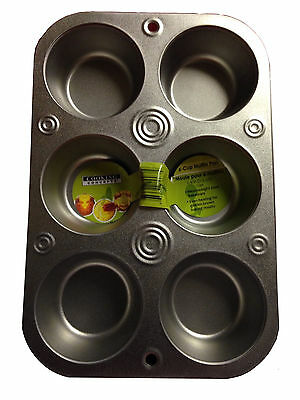 Muffin Cooking Pan 6 Cup Heavyweight Steel Bakeware Baking Muffins & Cupcakes