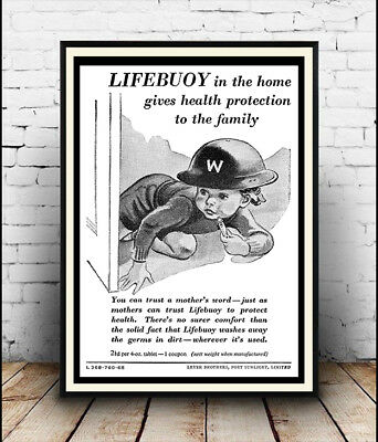 Lifebuoy in the home ,  Vintage Soap advert  poster reproduction.
