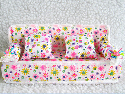 Mini Furniture Sofa Couch +2 Cushions For Barbie Doll House Accessories  XIUK