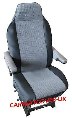 Fiat Ducato Luxury Motorhome Seat Covers - Dark Grey/ Black