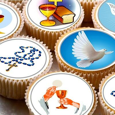 24 Edible cake toppers decorations  ND2 1st First holy communion Baptism