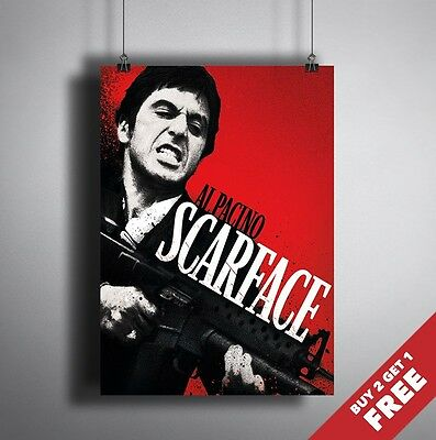 A3 or A4 Size * SCARFACE 1983 Movie Poster * Al Pacino Picture Glossy Art Print