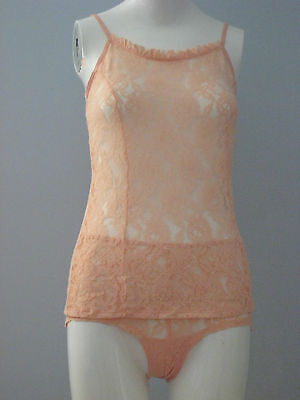New LA VIE EN ROSE Size S Light Pink Lace Camisole and Panty Set
