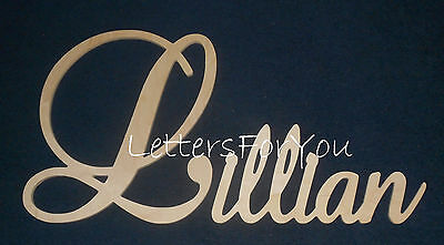 """15"""" Capital Unpainted Connected Large Cursive Script Wall Name Wedding Baby"""