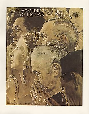"1977 VINTAGE ""FREEDOM OF WORSHIP"" NORMAN ROCKWELL MINI POSTER COLOR Lithograph"