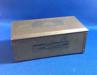Arts & Crafts Movement Brass Box, Lined, Stamped Images, Beckley & Ralston Co.