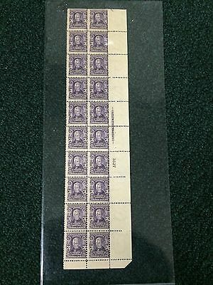 302 3cent Andrew Jackson Plate Strip Of 20. MNH. Great Color