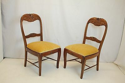 Spectacular Pair of Rosewood Side Chairs Covered in Velvet Mohair