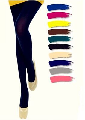 Women Opaque Skinny Tights Candy Colors Stretchy Pantyhose Stockings One Size