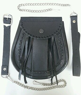 4 Thongs Cowhide Medieval Day Scottish kilt Sporran + Leather & Metal Chain set