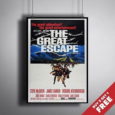 A3 or A4 Size * THE GREAT ESCAPE 1963 Vintage Movie Poster * Glossy Art Print