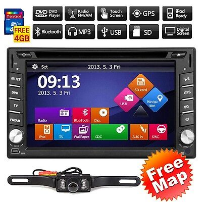 US GPS Navigation HD Double 2DIN Car Stereo DVD Player Bluetooth iPod MP3+Camera
