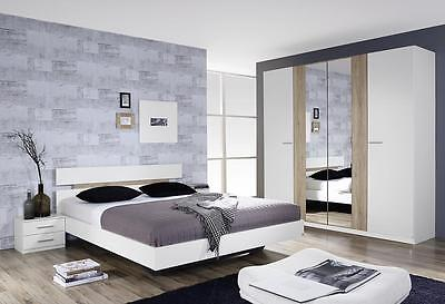 Rauch 'Almada' Range German Made Bedroom Furniture. White with San Remo Oak.