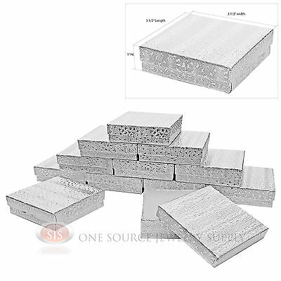 "12 Silver Foil Cotton Filled Jewelry Display Gift Boxes 3 1/2"" X 3 1/2"" X 1"""