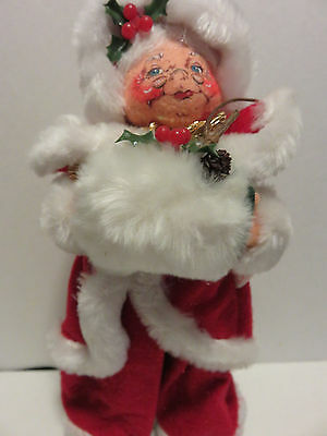 """2005 ANNALEE Christmas Holiday 14"""" Santa Mouse Doll White Fur Trimmed"""
