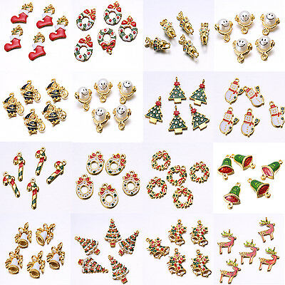 5Pcs Mixed Christmas Motif Charms Pendants Gold Plated Enamel Tree Snowflake Lot