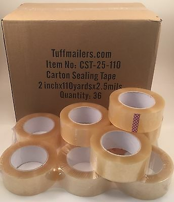 "12 rolls Carton Sealing Clear Packing/Shipping/Box Tape- 2.5 Mil- 2"" x 110 Yards"