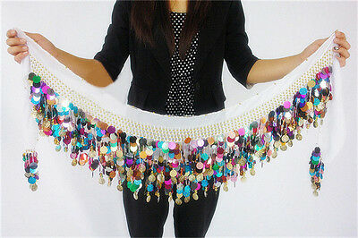 Pretty Belly Dance Costume Coin Chiffon Colorful Sequins Hip Scarf Skirt Wrap