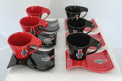 12 Piece Cup and Saucer Set in Black and Red 200ml