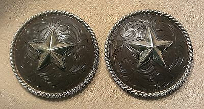 """2 - 1 3/4"""" Hand Engraved Rust / Brown Iron Conchos w/Heavy Rope Edge & Star"""