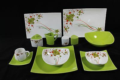44 Piece Dinner Set in Green Flower for 6 people
