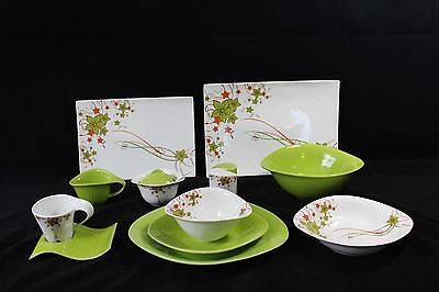 45 Piece Dinner Set in Green Flower for 6 people