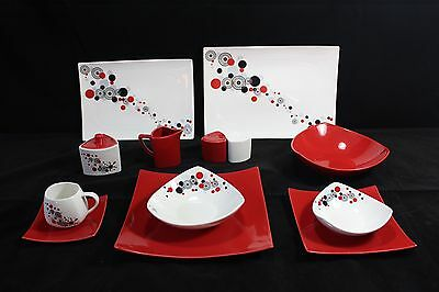 44 Piece Dinner Set in Red Circle for 6 people