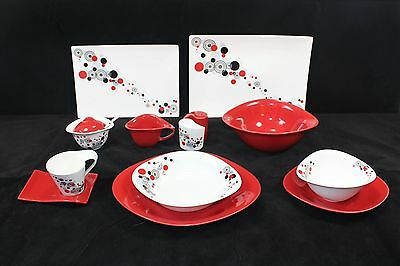 45 Piece Dinner Set in Red Circle  for 6 people