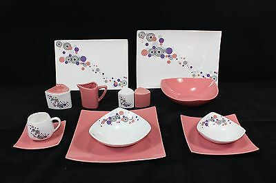 44 Piece Dinner Set in Pink Circle for 6 people