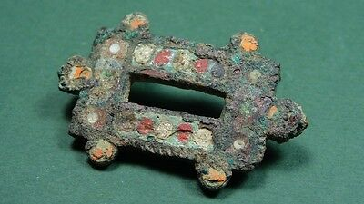 Ancient Broche Turtle Shape Bronze & Mosaic Glass Greco-Roman 200 Bc-100 Ad