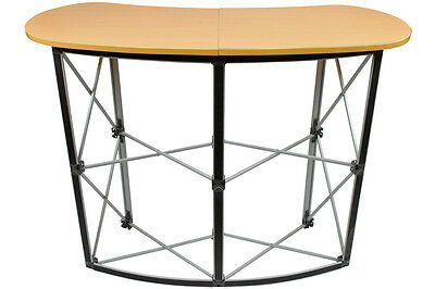Folding Compact Trade Show Display Table W/ Carrying Bag Stand Wood Finish Ab