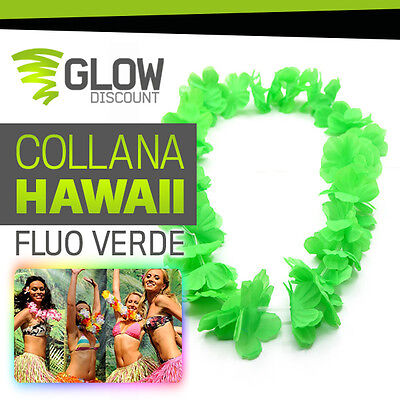 COLLANA HAWAII FLUO VERDE collana hawaii hawaiana party fluo luminosi festa love