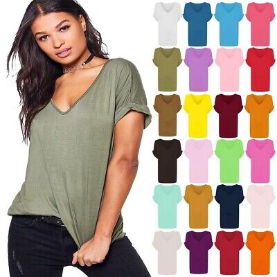 Women Oversized Baggy Top Ladies Loose Fit Turn up Batwing Sleeve V Neck T shirt