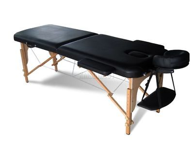 Light Weight Portable Massage Table Beauty Bed 2 Section Wood + Cover Bag Black