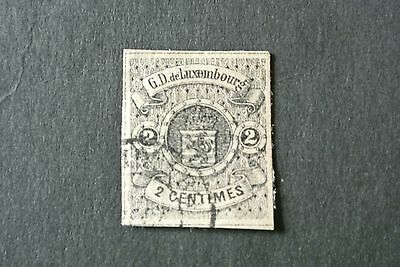 Luxembourg 1860 #5 Coat of Arms 2c Black.VFU. Very Rare CV$575 Imperforated.