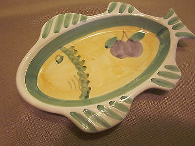ITALIAN TRAY FISH MADE IN ITALY  9.75 x 7 x 1 INCHES DEEP DISH HAND PAINTED