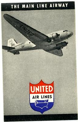 The Main Line Airway ~UNITED AIRLINES~ Old Advertising Poster Stamp, c. 1955