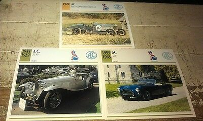 AC Cars Colour Collector Cards x 3