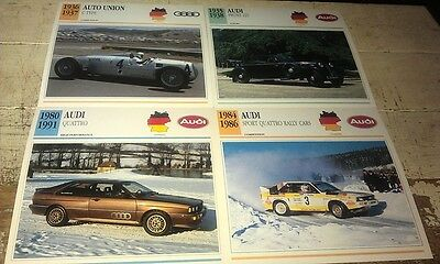 AUTO UNION & AUDI Colour Collector Cards x 4      QUATTRO etc
