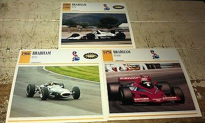 BRABHAM RACE  Cars  Colour Collector Cards x 3