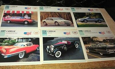 CADILLAC  Cars  Colour Collector Cards x 6 - ALLANTE etc