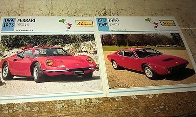 DINO by Ferrari Cars  Colour Collector Cards x 2