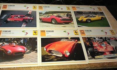 FERRARI Competition Racing Cars  Colour Collector Cards x 10