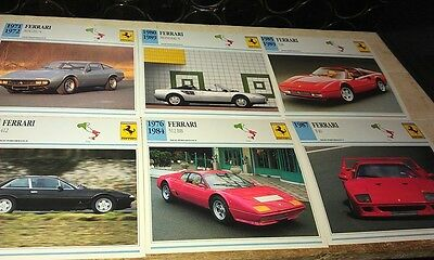 FERRARI Road  Cars  Colour Collector Cards x 12