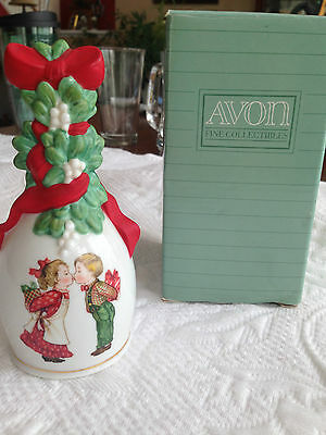 1989 Avon Porcelain Boy Kissing Girl Under The Mistletoe Christmas Bell + Box