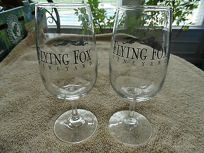 Rare Lot Of 2 Flying Fox Vineyard Wine Glasses Afton Va Black Lettering Logo